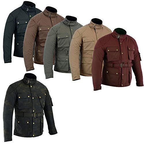warrior gears Chaquetas de moto impermeables de algodón encerado para hombre, marrón - L