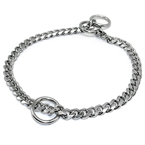 Stainless Steel Training Chain Pet Dog Choke Collar, Cuban Curb Chain Necklace,12mm Wide, Best for Small Medium Large Dogs,30inch