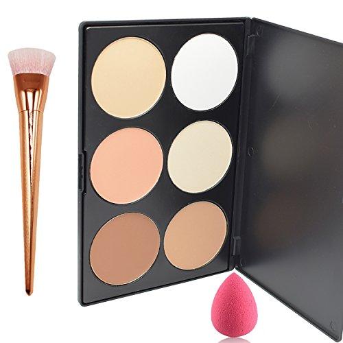 Lover Bar 6 Couleur Maquillage Contour Kit-Make Up Enlumineurs et Illuminateurs Palette-Professionnels Bronzantes-Visage Pressée Poudre Fond de teint Anti Cerne+Blender éponge Plat Contouring Pinceau