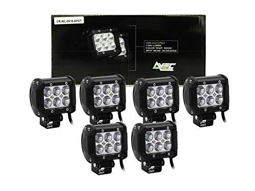 6x Avec OFF ROAD 18w Cree Spot light led work light bars pods bottom mount