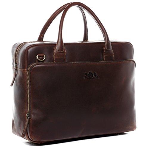 SID & VAIN Laptoptasche echt Leder Ryan XXL groß Businesstasche Umhängetasche Aktentasche Laptopfach 15.6