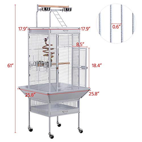 Yaheetech 61-inch Wrought Iron Select Large Bird Cages Include Bungee Rope for African Grey Parrots Cockatiels Sun Parakeets Conure Lovebirds Budgies Finches Play Top Bird Cage with Stand, White