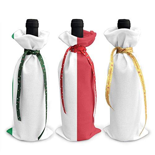 3 Stück Weinflaschen-Abdeckung mit italienischer Flagge, für Dekoration