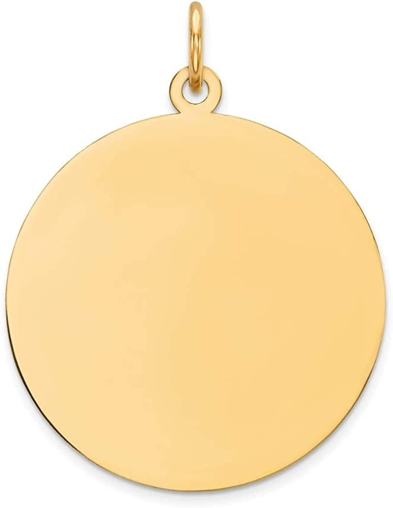 14k Yellow Gold Round Disc Pendant Charm Necklace Engravable Plain Fine Jewelry For Women Gifts For Her