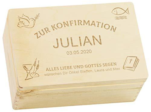 LAUBLUST Holzkiste mit Gravur - Personalisiert mit ✪ Datum | Name | WIDMUNG ✪ - Größe M - Kirchen Symbole - Geschenkkiste zur Konfirmation