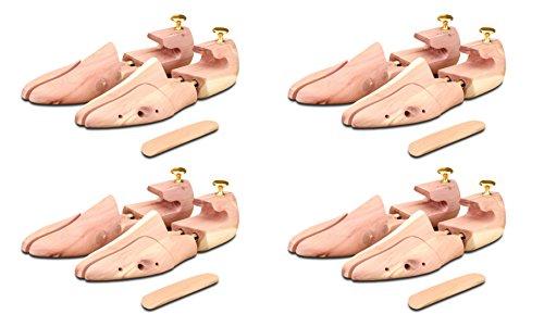 4 Paar Schuhspanner aus Zedernholz ( für Herren und Damen ) inkl. Reiseschuhlöffel aus Zedernholz, Langer & Messmer, Größe 34 bis 50, das Original!, Braun, 42/43