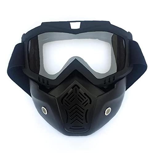 Casco Motocicleta Casco Gafas Gafas con máscara extraíble Detachable Piedra a Prueba Niebla Gafas cálido Filtro Bote