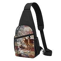 アメリカーナフラグ鹿スリングバッグフェード耐性胸ショルダーバックパック防水ファニーパックしわ耐性胸バッグ屋外クロスボディバッグ男性女性十代の若者たち