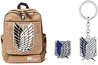 Attack on Titan Anime Survey Corps Backpack Bag Bundle with Free Keychain and Patch