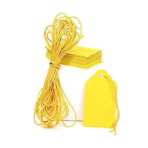 Gelbe Papieranhänger - Papieretiketten mit Schnur - Tags Geschenkanhänger Hochzeit Labels - zum selbstgestalten - von Papierdrachen