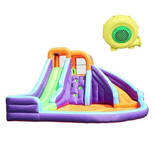 GHH Castillo Hinchable para Interiores y niños, para Jardín Exterior Hogar, Apto para 3-5 Personas, con La Red De Seguridad 420x365x225 cm Soplador