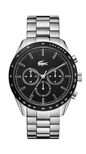 Lacoste Relógio masculino de quartzo Boston com pulseira de aço inoxidável, prata, 20 (modelo: 2011079)