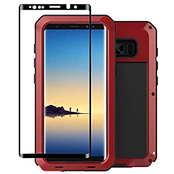 Tomplus Galaxy Note 8 Case Armor Tank Aluminum Metal Shockproof Military Heavy Duty Protector Cover Hard Case for Samsung Galaxy Note 8  Red