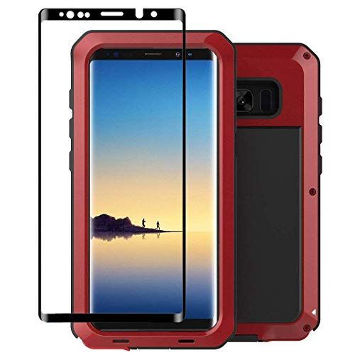 Tomplus Galaxy Note 8 Case, Armor Tank Aluminum Metal Shockproof Military Heavy Duty Protector Cover Hard Case for Samsung Galaxy Note 8 (Red)