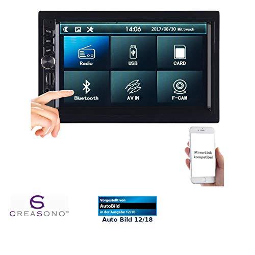 CREASONO Radio 2 DIN: 2-DIN-MP3-Autoradio mit Touchdisplay, Bluetooth, Freisprecher, 4X 45 W (Autoradio DIN2)