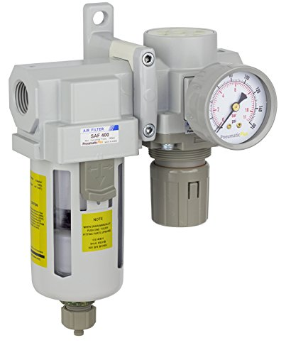 Manual Drain Poly Bowl Coalescing Filter Bracket Particulate Air Filter 1//4 NPT Gauge PneumaticPlus SAU230-N02G Three Stage Air Drying System Air Pressure Regulator Combo