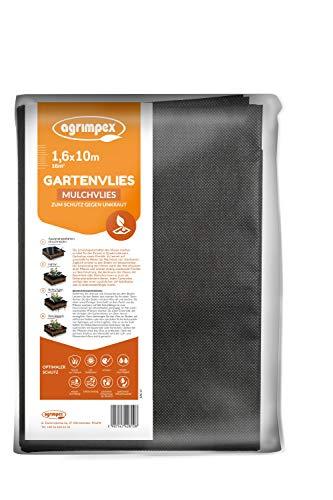 agrimpex Unkrautvlies ‒ Gartenvlies schwarzes Mulchvlies zum Schutz gegen Unkraut Gewicht 50 g/m² Hohe UV-Stabilisierung Unkrautfolie Wasserdurchlässig 1,60x10M (16 m²)