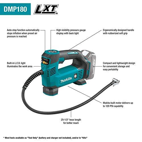 Makita DMP180Z Kompressor 8,3 bar 18 V (ohne Akku, ohne Ladegerät), Blau, Silber - 2