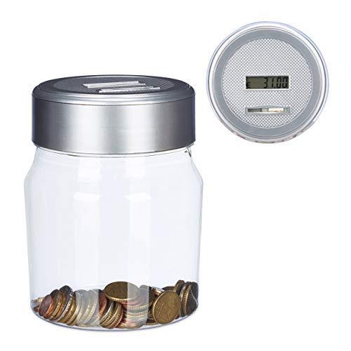 Relaxdays spaarpot met teller, telend spaarvarken met display, digitale muntttteller, Euro, cadeau, 1,2 l, transparant