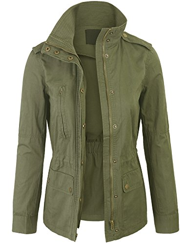 BOHENY Womens Military Anorak Safari Jacket with Elastic Waist Band-S-Olive