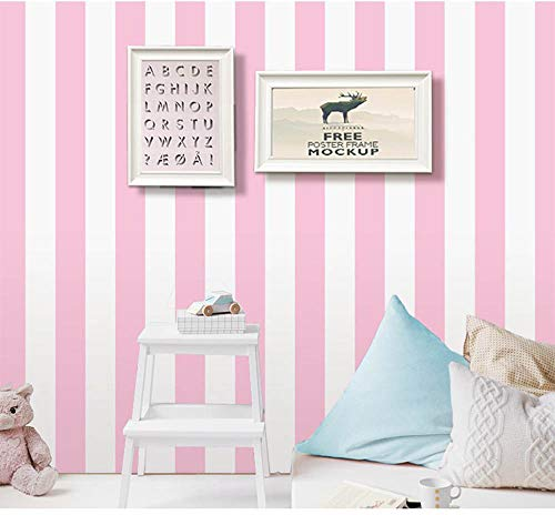 Self Adhesive Vinyl Pink and White Stripe Peel and Stick Wallpaper Shelf Liner for Walls Nursery Girls Bedroom Cabinets Dresser Drawer Furniture Decal Removable Waterproof 17.7x117 Inches