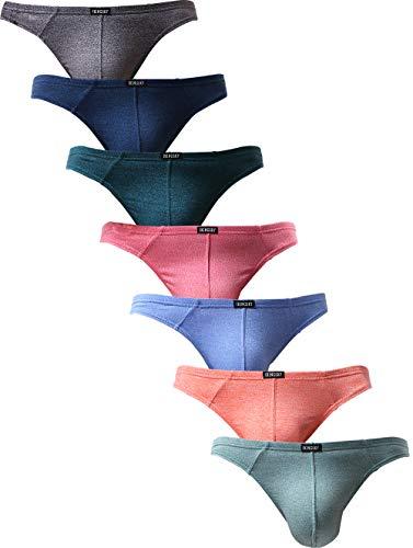 iKingsky Men's Thong Underwear Soft Stretch T-back Mens Underwear (Medium, 7 Pack)