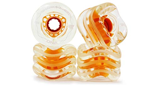Shark Wheel 72 mm 78a Longboard Wheels | DNA Formula | Clear with Orange Hub (4-Pack)