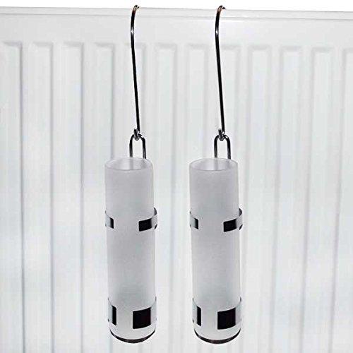 2 LISSEK Luftbefeuchter Wasserverdunster Verdampfer Heizkörper Heizung, Edelstahl Glas