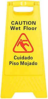 Two-Sided Wet Floor Caution Sign English/Spanish, Yellow, 24-Inch by 12-Inch Fold Up Plastic Sign, Caution Signs by Tezzorio