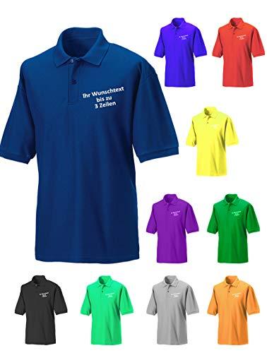 Generic Poloshirt Polohemd mit Wunschtext bis zu 3 Zeilen auf der Brust Bestickt (L, Royalblau)