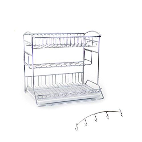 Porte-vaisselle en acier inoxydable un type grand trois tiroir de cuvette étagère de drainage Rack racks de plat plateau de cuisine plateau 42 * 31 * 43CM (edition : B, taille : 42 * 31 * 43CM)