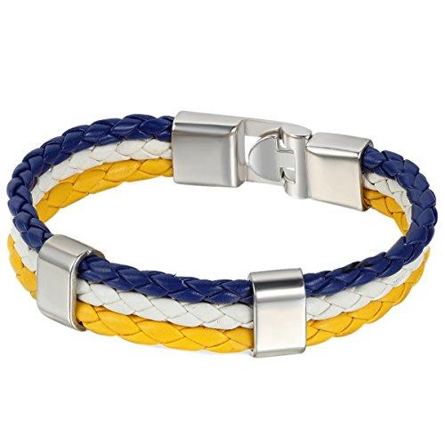 JewelryWe Schmuck Armband, Uruguay Uruguayisch Flagge Armreif, Leder Legierung, für Herren Damen, Blau Weiss Gelb