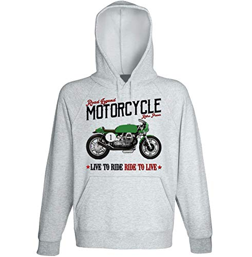Teesandengines Men's Moto Guzzi Cafe` Racer Grey Hoodie Size Medium