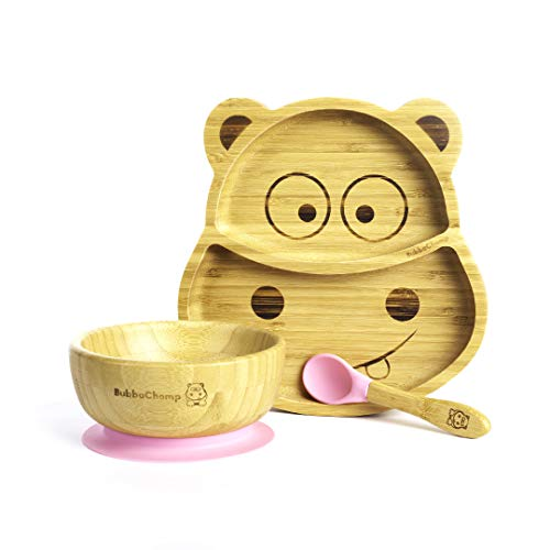 BubbaChomp Baby Weaning Set   Hippo   Bamboo Suction Plate + Bamboo Suction Bowl + Spoon   Stay Put Bowl & Plate (Pink)