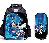 Mochila escolar Sonic cartoon 2 unids/set mochilas escolares con estampado de...