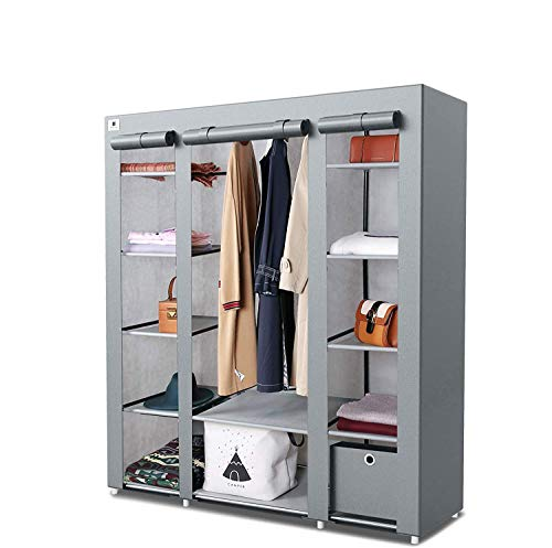 Knight Canvas Portable Large Free Standing Wardrobe Shelving Clothes Storage with Hanging Rail and Cubic Drawer (1pc Included) - L 150cm x W 45cm x H 175cm - Grey