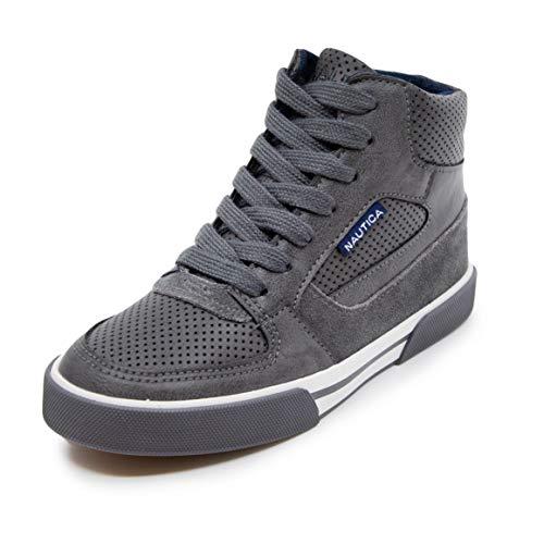 Nautica Kids Horizon Sneaker-Lace Up Fashion Shoe- Boot Like High Top-Horizon-Storm Grey-4