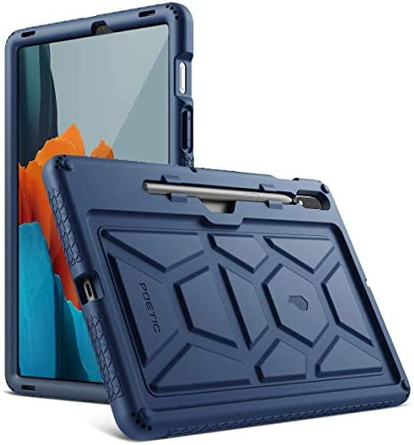Poetic TurtleSkin Series for Samsung Galaxy Tab S7 Case with S Pen Holder, 11''inch Model SM-T870/T875/T878 (2020 Release), Heavy Duty Shockproof Kids Friendly Protective Silicone Cover, Black
