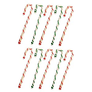MPP 8″ Holiday Rawhide Candy Cane Beef Chews Dog Treats Gifts Red Green Bulk Packs (10 Candy Canes)