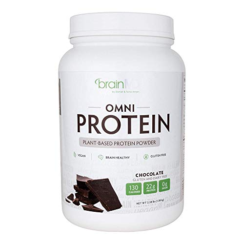 Dr. Amen brainMD Omni Protein Chocolate - 2.38 lbs - Plant-Based Protein Powder, Promotes Energy & Exercise Recovery - Vegan, Vegetarian, Sugar-Free, Gluten-Free - 30 Servings
