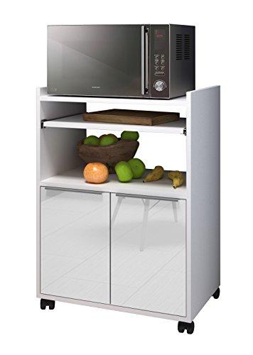 Berlioz Creations–Mesa Auxiliar de Cocina con microondas, Otros, Blanco Muy Brillante, 60 x 40