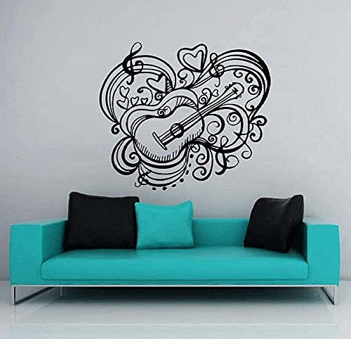 Pegatinas de pared Grabación Estudio Música Guitarra Decoración de pared Patrón Arte Decoración de pared Moda Calcomanía para el hogar Sala de estar Decoración 42x42cm