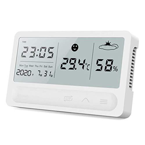 CLFYOU Termómetro higrómetro de Alarma El Tiempo del Reloj Multifuncional con Pantalla LCD Digital con Alarma Fecha Humedad Relativa y Temperatura Display