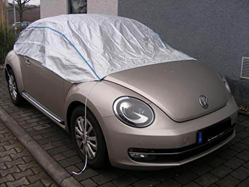 Kley & Partner Halbgarage Autoabdeckung UV-beständig atmungsaktiv wasserfest kompatibel mit VW Beetle Cabrio ab 2014 in Silber