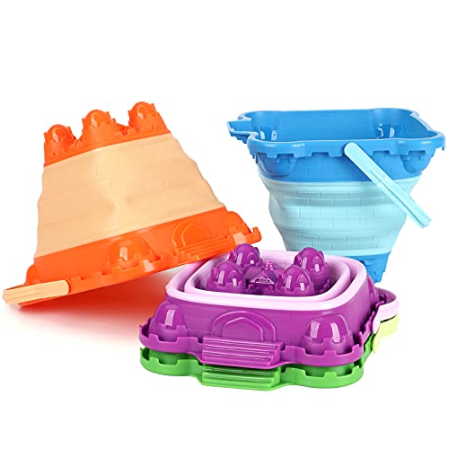 Tinleon Foldable Sand Buckets Plastic Castle Mold Beach Pail Collapsible Bucket Beach Sand Toys for Kids Outdoor Play(4 Pack)