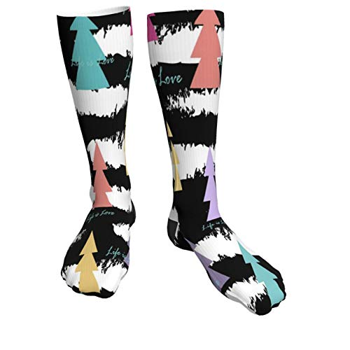 Abstract Fir Trees Warm Thick Knee High Knit Socks 50cm