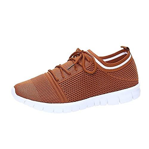 Zapatillas para mujer para correr, caminar, hacer deporte, informales, transpirables, para caminar, para correr, para actividades al aire libre., marrón, 36 EU