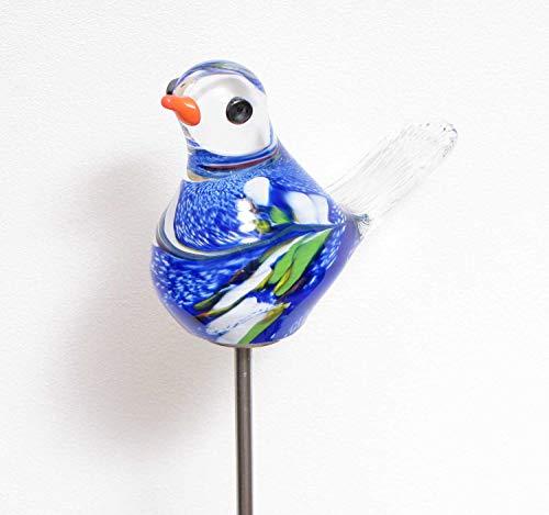 MP Glaszauber Vogel - Spatz auf Stab blau Glas H 84 cm Gartenstecker handgefertigte Gartenstele Gartenkugel