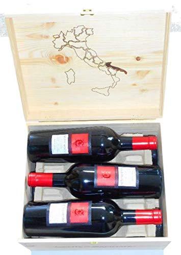 6 Flaschen Negroamaro Appassimento IGT 2016 Sonderedition Conte di Campiano in Original-Holzkiste, sensationeller Rotwein aus Apulien