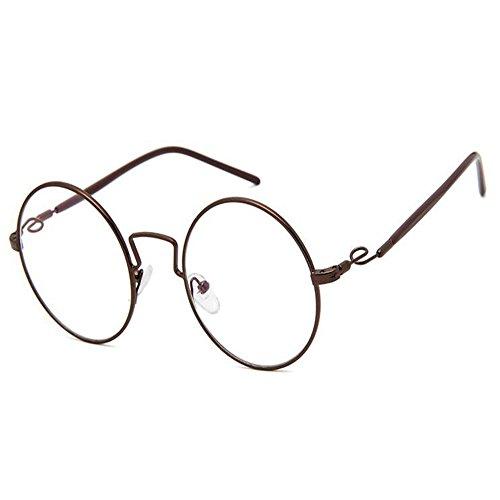 Meijunter Brille Damen Herren Mode Style Runde Rahmen Retro Klare Linse Brille Feder Scharnier Brillen